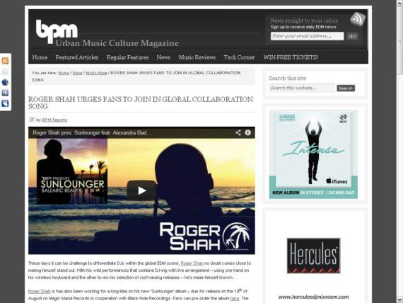 Love from BPM for Roger Shah