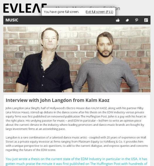 EVLEAR interviews JOHN LANGDON